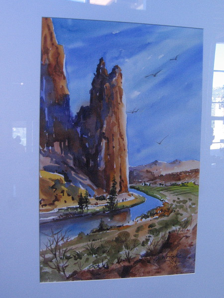 Smith Rock, Central Oregon, watercolor by artist Jami Wright.