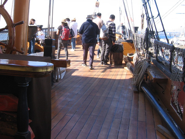 The finished decking on HMS Surprise's quarterdeck is very beautiful and should last many years.