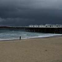 Dark storm clouds off Crystal Pier.