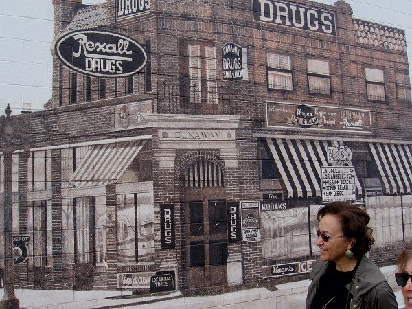 The historic brick building in this iconic PB mural still stands at the nearby corner.