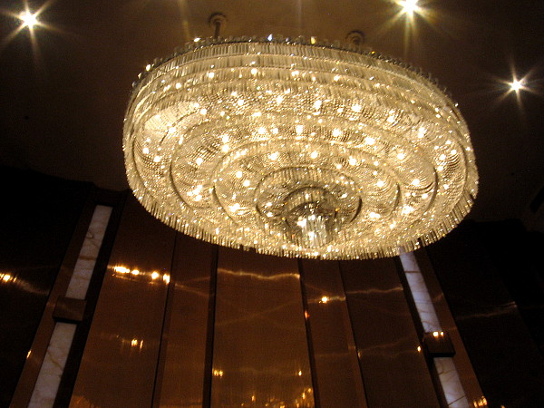 Looking up at the impressive chandelier in the Grand Salon of the San Diego Civic Theatre.