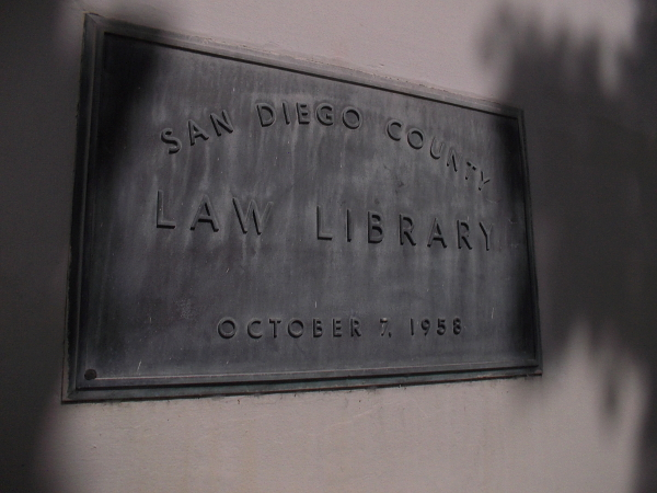Plaque outside the San Diego County Law Library, dedicated October 7, 1958. The building was renovated in 2011 with technological updates and multi-use spaces.