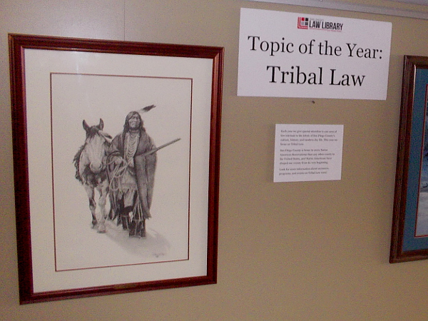 One display includes artwork concerning the Law Library's Topic of the Year: Tribal Law.