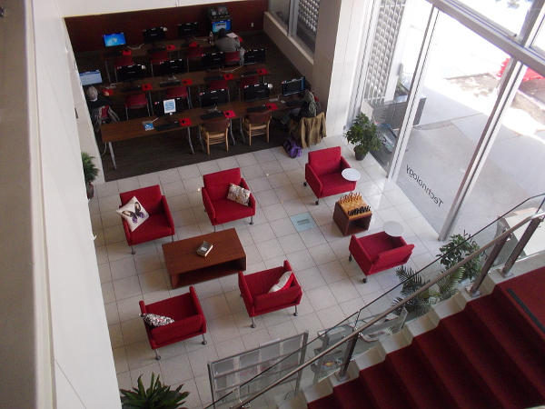 Looking down at the commons lounge area and the adjacent computer center.