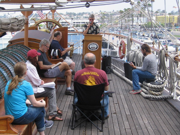 Moby Dick reading marathon on the poop deck of the 1863 tall ship Star of India.
