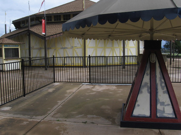 The Balboa Park Carousel is shuttered on a Saturday afternoon.