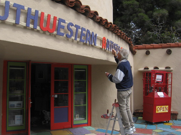 Many artists studios in Balboa Park's Spanish Village were closed. This guy told me it's a good time to do a little maintenance!
