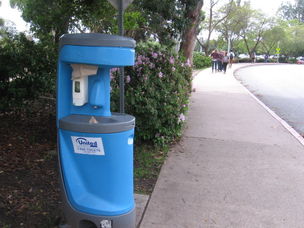 Hand sanitizing stations have popped up around Balboa Park.