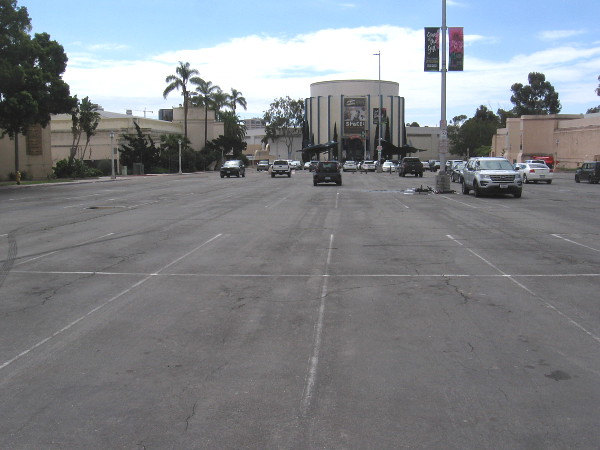 The parking lot in Balboa Park's Palisades area is almost empty.