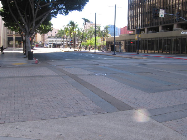 Broadway in downtown San Diego is exceptionally quiet during the coronavirus pandemic.