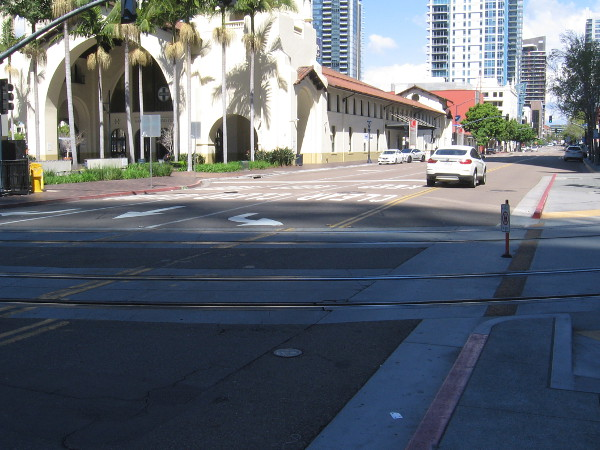 Almost no traffic at the Santa Fe Depot.