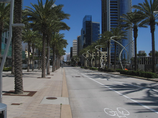 Another photo of almost empty Broadway looking east from Harbor Drive.