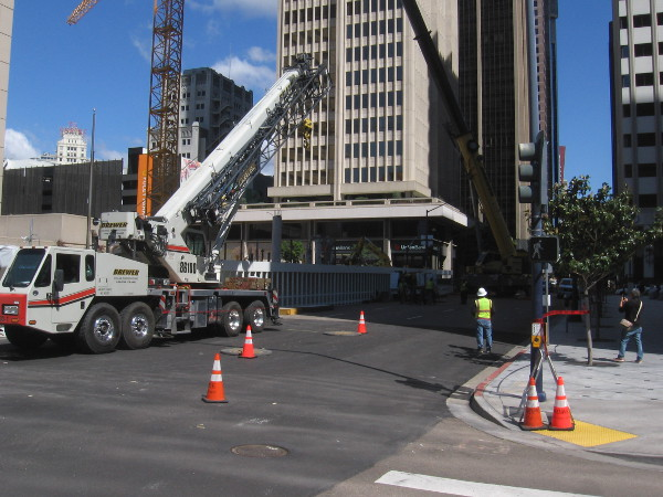 More construction downtown. A huge crane is being erected on B Street.