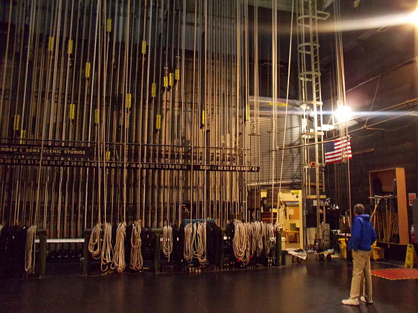 Now we are backstage, looking at dozens of ropes that might be used to lift or manipulate props, lighting, drop curtains--and perhaps even actors!