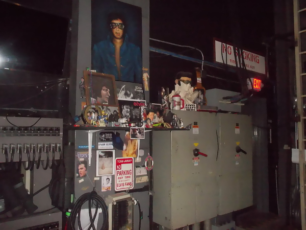 Here's the shrine to Elvis in a corner of backstage. I didn't catch the story behind it.