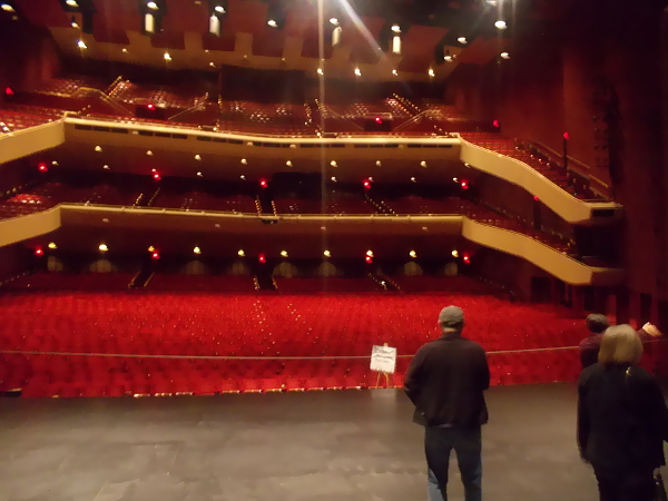Looking out from the stage upon thousands of empty red seats!
