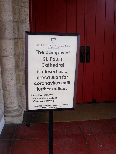 Sign indicates St. Paul's Cathedral is closed as a precaution during the pandemic.