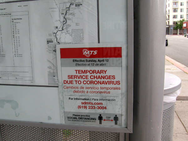 Temporary services changes are posted at the bus stop on Upas Street.