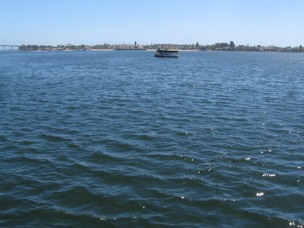 The Coronado Ferry crosses quiet San Diego Bay.