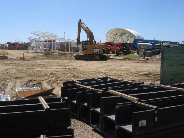 "The San Diego Symphony's new waterfront venue ""The Shell"" is still under construction."