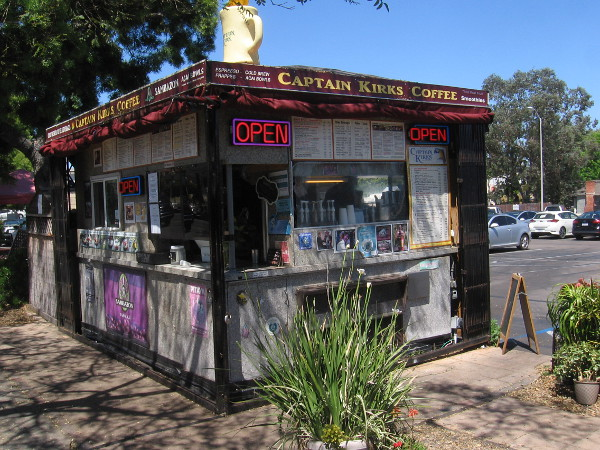 Captain Kirk's Coffee by the sidewalk in South Park.
