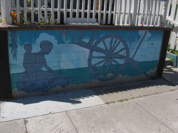 Mural in front of a couple businesses on Congress Street depicts the early days of San Diego.