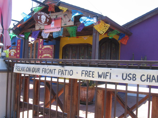 Mexican themed outdoor decor but no customers at this eatery during the coronavirus pandemic.