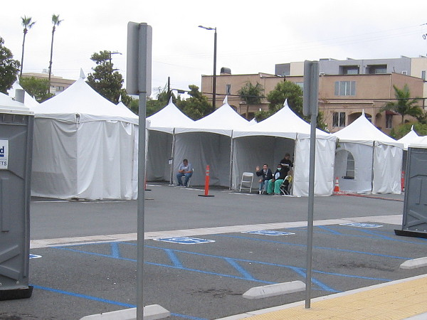 In a parking lot by the UCSD Medical Center hospital, tents are set up for the coronavirus pandemic. Thankfully they aren't in use at the moment!