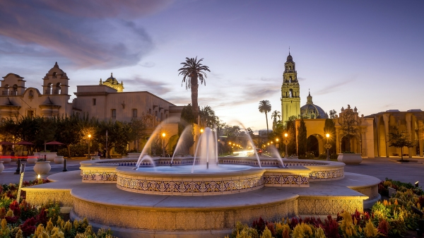 An amazing photograph of Balboa Park, perfect for your computer desktop wallpaper, provided by the San Diego Tourism Authority.