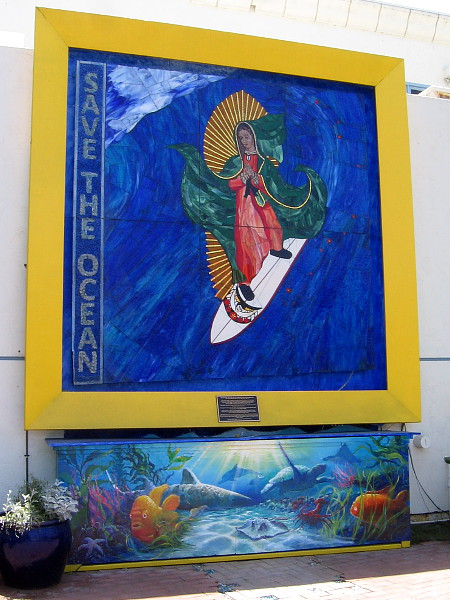 The Surfing Madonna in Encinitas, California. A mosaic by artist Mark Patterson.