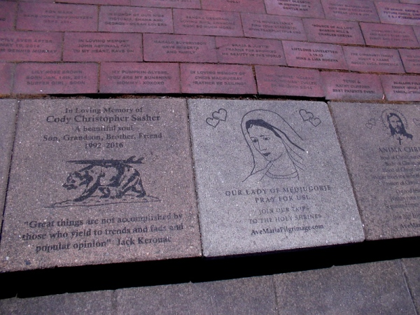 Brick pavers in the small courtyard raised money for programs that help the Earth's oceans.