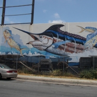 Sportfishing mural seen from Interstate 5.