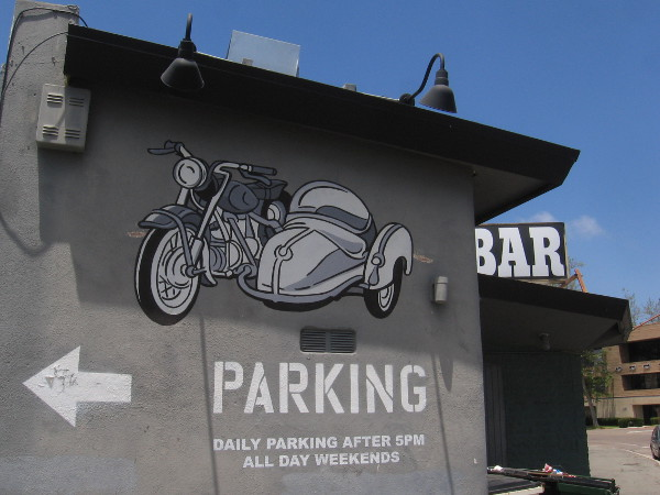 Cool motorcycle graphic on wall of Sidecar Bar.