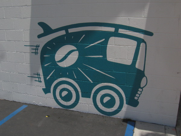 This cool graphic of a van with a surfboard is on the side of Bird Rock Coffee Roasters.