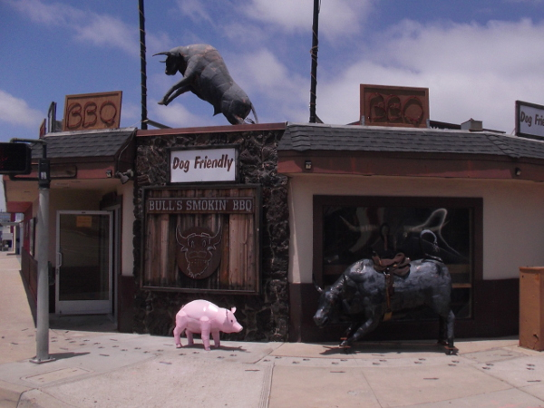 Looks like a farm around the entrance to Bull's Smokin' BBQ. Fun sculptures greet passersby on West Morena Boulevard.
