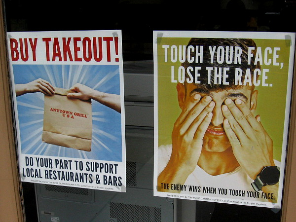 Buy takeout. Touch your face, lose the race. The enemy win when you touch your face.