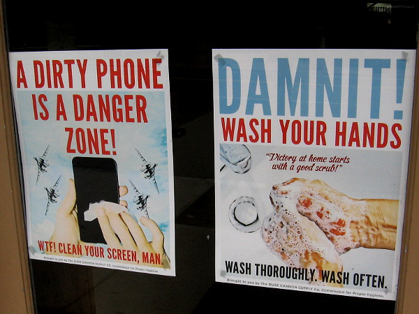 A dirty phone is a danger zone! Damnit! Wash your hands. Victory at home starts with a good scrub!