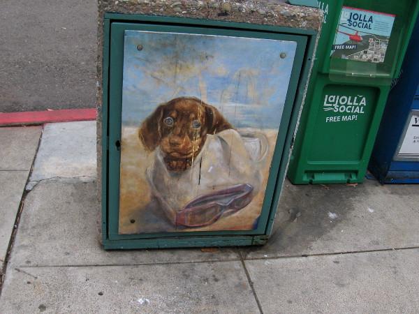 A cute dog peers from trashcan street art in La Jolla.
