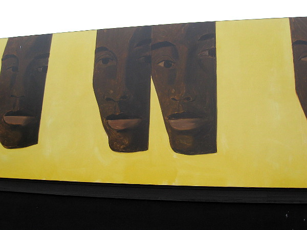 Close-up photo of one of the Murals of La Jolla. Bill 2, 2019, by artist Alex Katz. A celebration of modern dance choreographer Bill T. Jones.