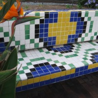 Patterned tile benches outside Santa Fe Depot.