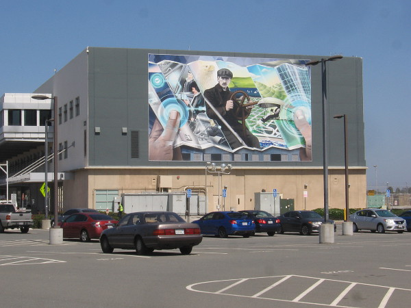 Mural visible from Harbor Drive at San Diego International Airport.
