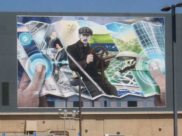 "On The Map, a tribute to the rich aviation history of San Diego, by muralist Jari ""WERC"" Alvarez."