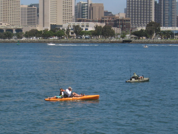 Fishing out on the blue water of San Diego Bay.