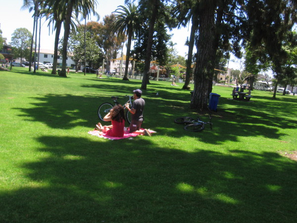 A few small groups were enjoying a Sunday early afternoon in Spreckels Park.