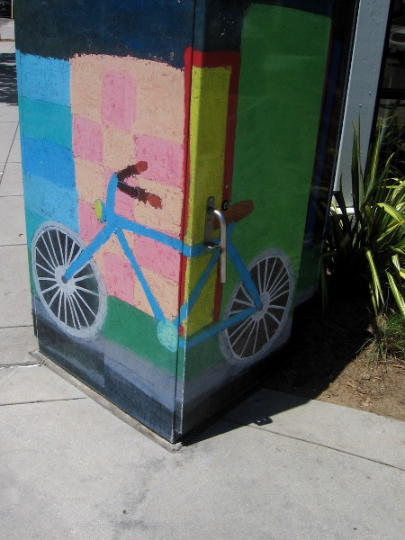Bicycling has always been popular in Coronado, with tourists and locals alike. This street art depicts a fun bike.