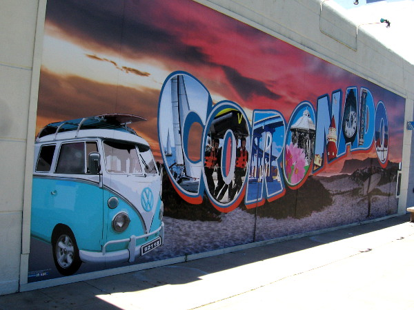 As I walk back east along Orange Avenue, I pass the Coronado mural. I noticed it's printed on panels, not painted.