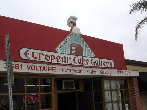 As I walked by European Cake Gallery, I noticed the pastry chef peering out at Point Loma from the rooftop.