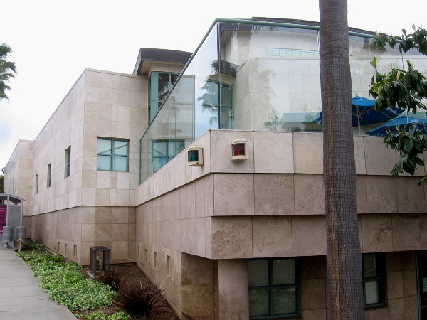 The other side of the architecturally interesting Point Loma Library. The glass near the roof resembles waves breaking on the beach.