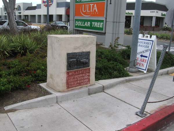 Historical marker recalls early San Diego's La Playa Trail. This plaque can be found on Rosecrans Street near Midway Drive.
