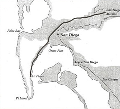 US Boundary Survey of 1850 shows the La Playa Trail along San Diego Bay and the San Diego River. Public domain image from Wikimedia Commons.